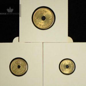 1942 Komplett Londonsett 50-, 25- & 10 Øre Kv 0/01