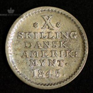 1845 Dansk Vestindien 10 Skilling Kv 01