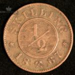 1867 Norge 1/2 skilling Kv 1+