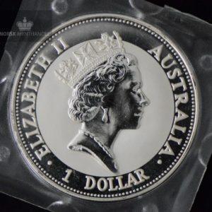 1992 Australia 1 oz Sølv Kookaburra BU Square Capsule