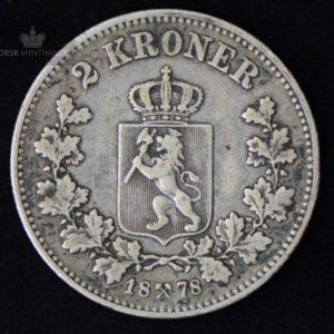 2 Kroner 1878 Kv 1 M/Myntkapsel