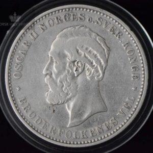 """2 Kroner 1890 Kv 1 M/Myntkapsel """"Renset"""""""