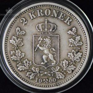 2 Kroner 1900 Kv 1+ M/Myntkapsel