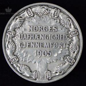 """2 Kroner 1906 Unionsoppløsningen Kv 1+ """"Pusset"""" #3"""