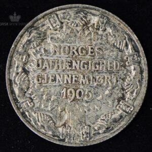 """2 Kroner 1906 Unionsoppløsningen Kv 01 """"Riss"""" #5"""