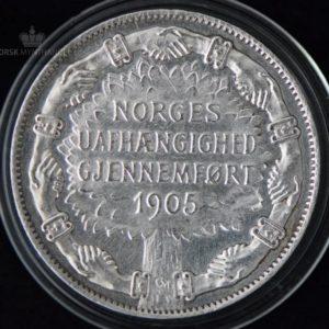 """2 Kroner 1907 Unionsoppløsningen Kv 1+ M/Kapsel """"Pusset"""" #3"""
