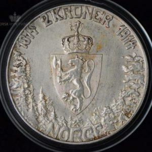 """2 Kroner 1914 """"Mor Norge"""" Kv 1+ M/Kapsel """"Pusset"""" #9"""