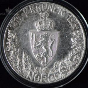 """2 Kroner 1914 """"Mor Norge"""" Kv 1+ M/Kapsel """"Pusset"""" #10"""
