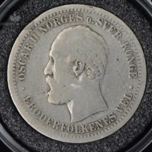 "1877 1 Krone Kv 1- ""Riss"" M/Kapsel #4"