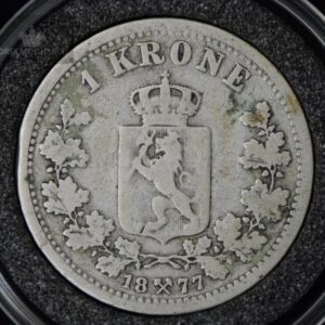 """1877 1 Krone Kv 1- """"Kanthakk"""" M/Kapsel #5"""