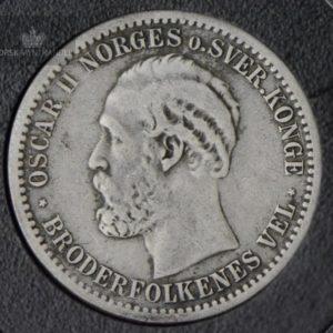 1877 50 Øre Kv 1 M/Kapsel #2