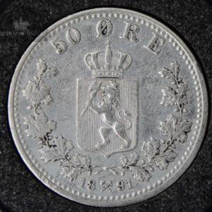 "1891 50 Øre Kv 1 ""Renset"" M/Kapsel #1"