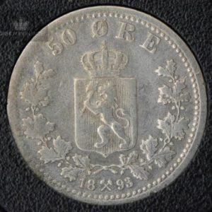 1893 50 Øre Kv 1- M/Myntkapsel #2