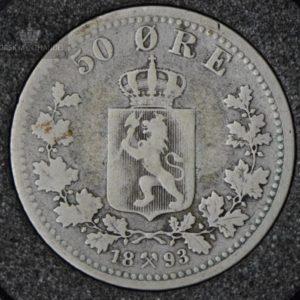 1893 50 Øre Kv 1- M/Myntkapsel #3