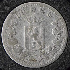 """1895 50 Øre Kv 1- """"Renset"""" M/Myntkapsel #1"""