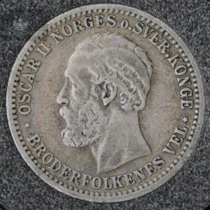 """1898 50 Øre Kv 1 M/Myntkapsel """"Lite Riss"""" #2"""