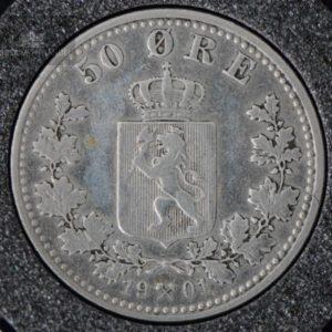1901 50 Øre Kv 1 M/Myntkapsel #2