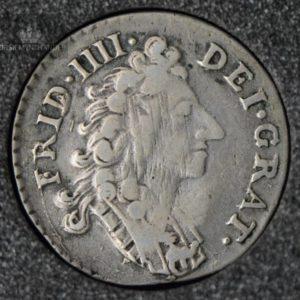 """1708 Norge 8 Skilling Kv 1+ """"Riss"""" M/Myntkapsel"""
