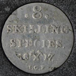 1817 Norge 8 Skilling Kv 1/1- M/Myntkapsel