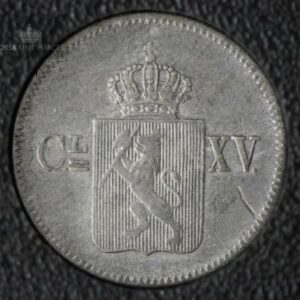 """1869 Norge 3 Skilling """"Stjerner"""" Kv 1 """"Renset"""" M/Myntkapsel"""