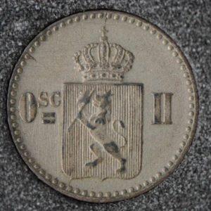 """1872 Norge 3 Skilling """"Rosetter"""" Kv 1+ """"Riss"""" M/Myntkapsel"""