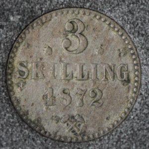 """1872 Norge 3 Skilling """"Stjerner"""" Kv 1 M/Myntkapsel"""