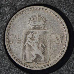 """1871 Norge 2 Skilling""""Stjerne"""" Kv 1 M/Myntkapsel"""