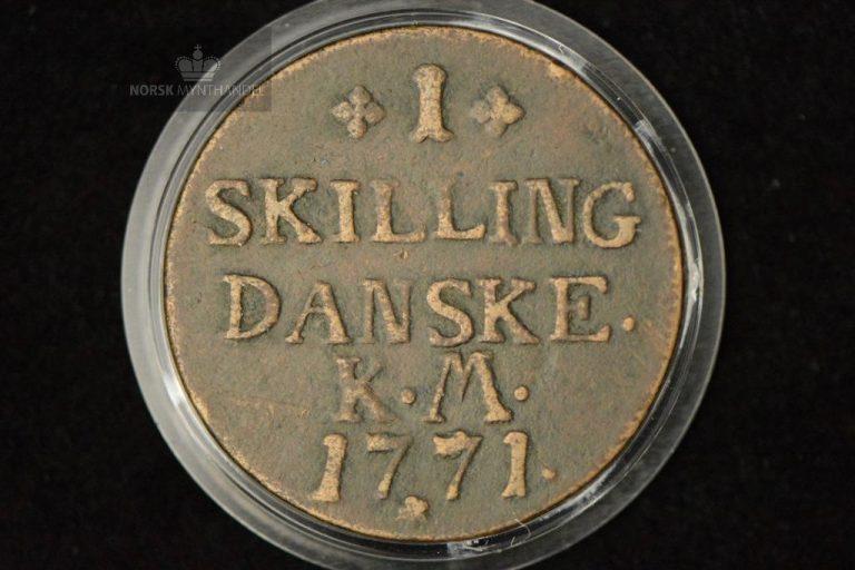 1771 Norge 1 Skilling Kv 1 M/Myntkapsel