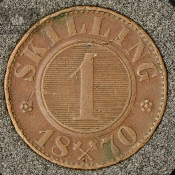 1870 Norge 1 Skilling Kv 1 M/Myntkapsel