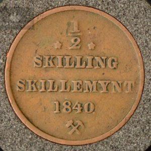 1840 Norge 1/2 Skilling Kv 1- M/Myntkapsel