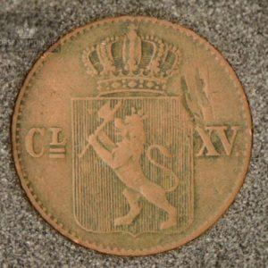 1867 Norge 1/2 Skilling Kv 1- M/Myntkapsel #2