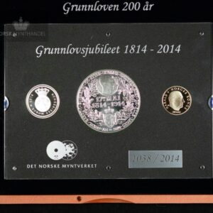 """2014 """"Det Store Grunnlovssettet"""" Minnemynter & Sølvmedalje Proof/BU"""