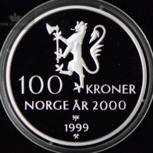 1999 100 Kroner Tusenårsmynten i sølv U/Etui