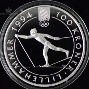 "1991 100 Kroner Lillehammer 94 ""Langrennsløper"" Proof U/Etui"
