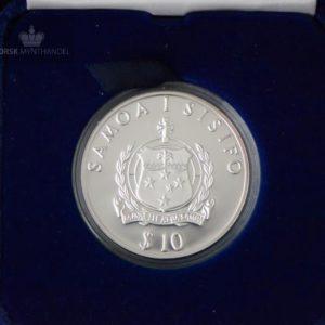 "1988 Samoa 10 Tala 1 oz Sølv ""Kon-Tiki"" Proof"