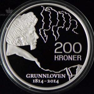 """2014 200 Kroner Sølvmynt """"Grunnloven 200 år"""" Proof M/Etui"""