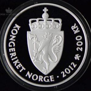 """2012 200 Kroner Sølvmynt """"Kongeparet"""" Proof M/Etui"""