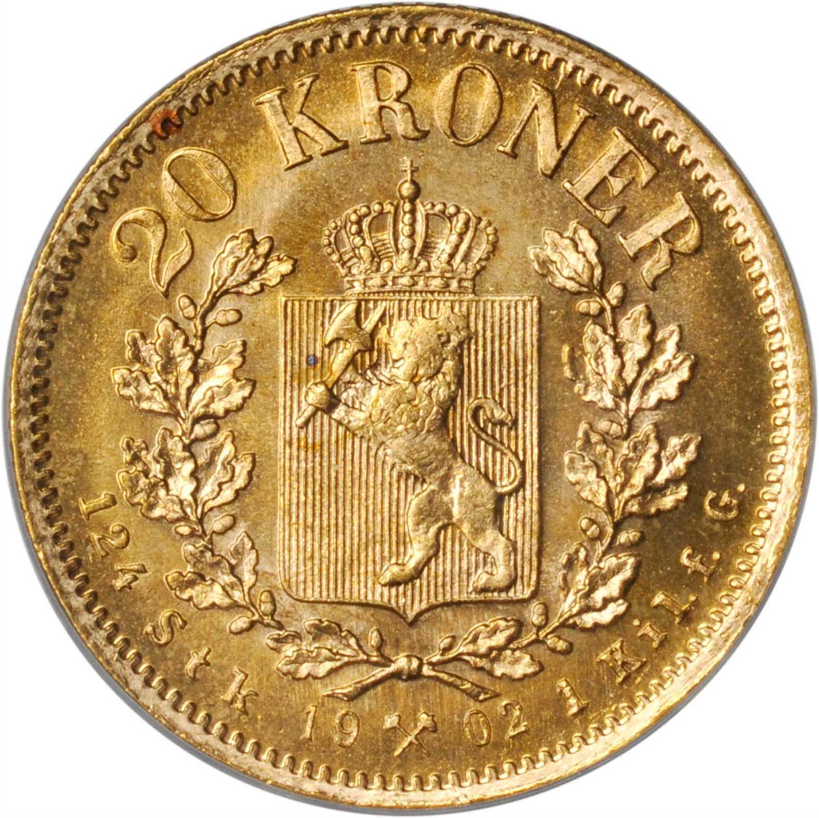 1902 Norge 20 Kroner Gull Kv 0/01 ANACS MS65