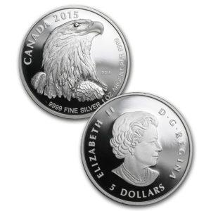 2015 Kanada 4-Mynt 1.85 oz Sølv Bald Eagle Sett Proof