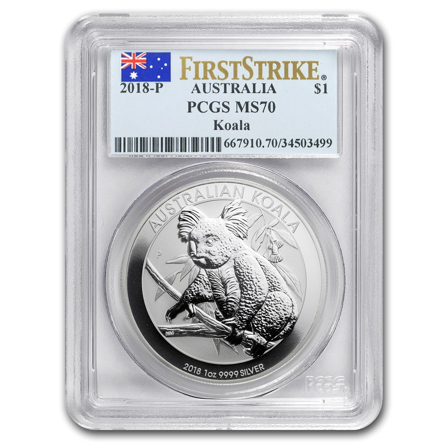 "2018 Australia 1 oz Sølv Koala PCGS MS70 ""First Strike"""