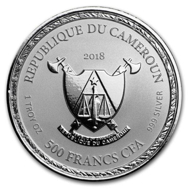 2018 Kamerun 1 oz Sølv Imperial Dragon BU