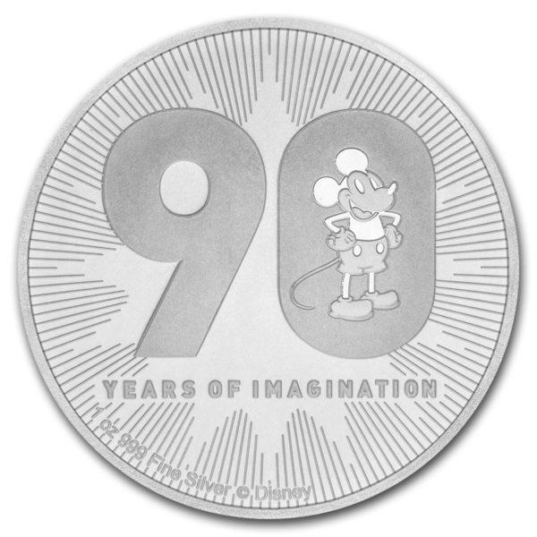 2018 Niue 1 oz Sølv Disney Mickey`s 90th Anniversary BU