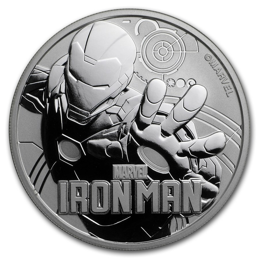 2018 Tuvalu 1 oz Silver Marvel Series Iron Man™ BU