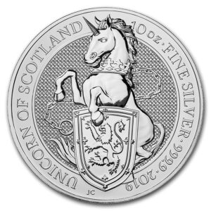 "2019 Great Britain 10 oz Silver  ""Queen`s Beasts - The Unicorn"" BU"