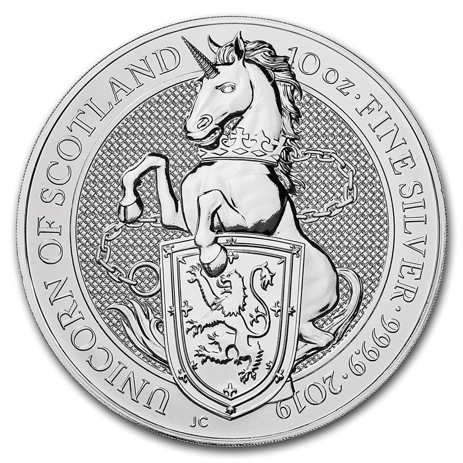 "2019 Great Britain 10 oz Silver  ""Queen`s Beasts - The Unicorn"" BU"