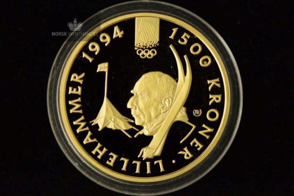 1993 1500 Kroner Lillehammer 1/2 oz Gullmynt Nr. 4
