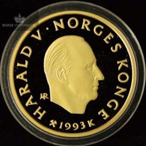 """1993 1500 Kroner Lillehammer 1/2 oz Gullmynt Nr. 4 """"Polarekspedisjoner"""" Proof"""