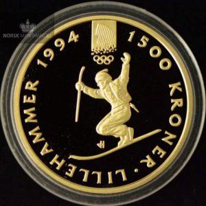 """1993 1500 Kroner Lillehammer 1/2 oz Gullmynt Nr. 3 """"Telemarkskjører"""" Proof"""