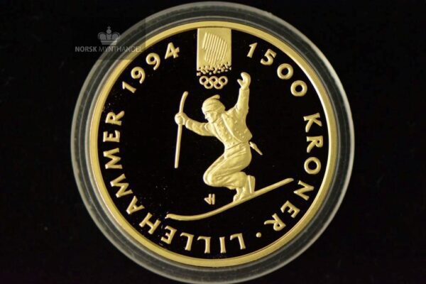 1993 1500 Kroner Lillehammer 1/2 oz Gullmynt Nr. 3