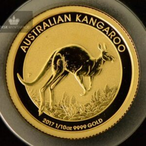 2017 Australia 1/10 oz Gold Kangaroo BU W/Bar